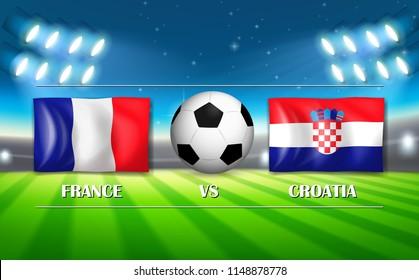 France VS Croatia football match illustration