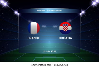France vs Croatia football scoreboard broadcast graphic soccer template