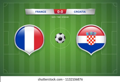 France vs Croatia scoreboard broadcast template for sport soccer 2018 and football league or world tournament championship round finals vector illustration