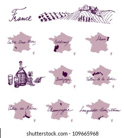 France wine producing regions - maps.
