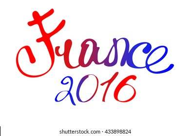 France. Word. Lettering. The colors of the flag.