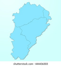 Franche-Comte blue map on degraded background vector