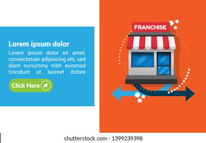 Franchise business concept - Franchise banner for marketing system.