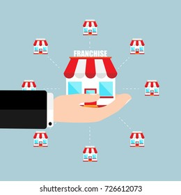 Franchise business concept Businessman hand holding franchise marketing system