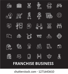 Franchise business editable line icons vector set on black background. Franchise business white outline illustrations, signs, symbols