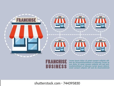 Franchise business in flat style infographic. Vector illustration