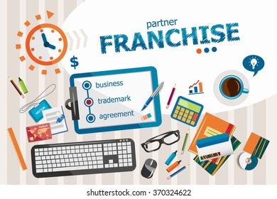 Franchise design concept. Typographic poster. Franchise concepts for web banner and printed materials.