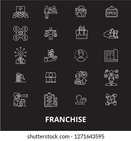 Franchise editable line icons vector set on black background. Franchise white outline illustrations, signs, symbols