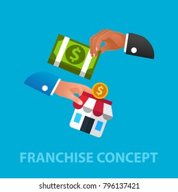 Franchise flat concept. Vector illustration. Element template for design.