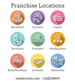 Franchise Icon Set with Home Office, corporate Headquarters - Franchising Icon Images