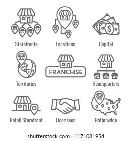 Franchise Icon Set with Home Office, corporate Headquarters - Franchisee Icon Images