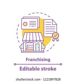 Franchising concept icon. Retail business idea thin line illustration. Merchandise. Retail license. Vector isolated outline drawing. Editable stroke