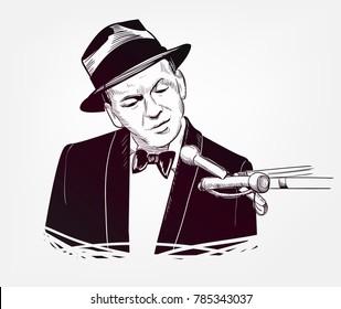 Frank Sinatra vector sketch illustration