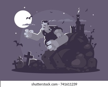 Frankenstein cartoon character. Ugly dead walk through cemetery. Vector illustration