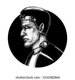 Frankenstein, Halloween Theme Sketch, Hand Drawn Illustration, Pointillism, Isolated Vector