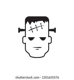 Frankenstein head icon in black and white. Vector illustration.