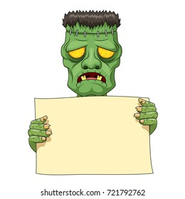 Frankenstein holding blank banner. Vector illustration