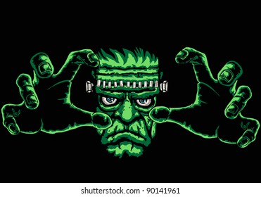 frankenstein monster, black background is easy to replace with another color