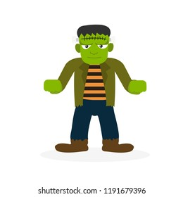 Frankenstein a monster in the history. Vector illustration isolated on white background for Halloween concept.