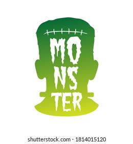 Frankenstein Monster, Lettering Vintage Halloween Design. Frame ornament vector style. Decoration Design Terror Silhouette illustration.