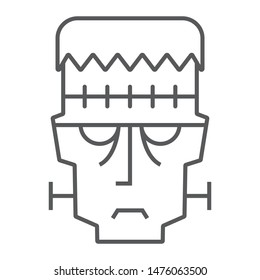 Frankenstein thin line icon, halloween and monster, zombie sign, vector graphics, a linear pattern on a white background, eps 10.
