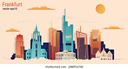 Frankfurt city colorful paper cut style, vector stock illustration. Cityscape with all famous buildings. Skyline Frankfurt city composition for design