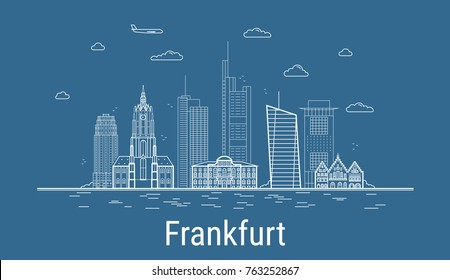 Frankfurt city, Line Art Vector illustration with all famous buildings. Linear Banner with Showplace. Composition of Modern cityscape. Frankfurt buildings set