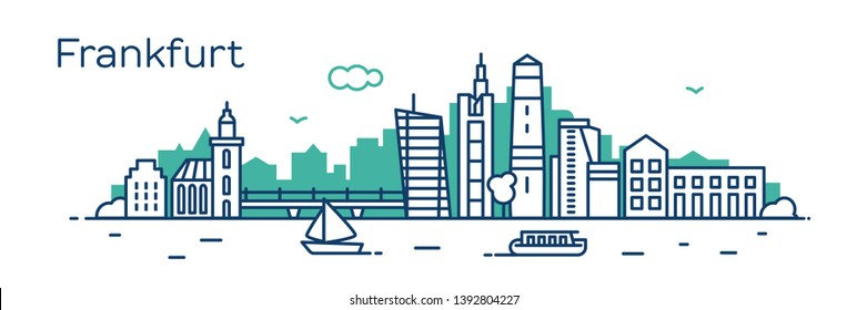 Frankfurt city. Modern flat line style. Vector illustration. Concept for presentation, banner, cards, web page
