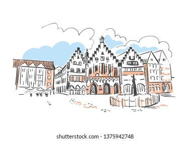 Frankfurt Kentucky usa America vector sketch city illustration line art