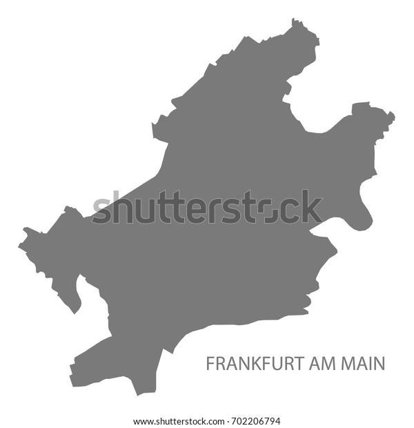 Frankfurt am Main city map with boroughs grey illustration silhouette shape