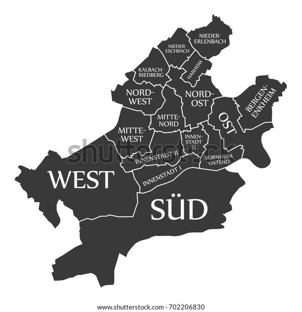 Frankfurt am Main city map Germany DE labelled black illustration