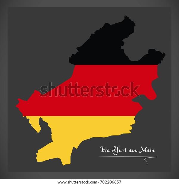 Frankfurt am Main map with German national flag illustration