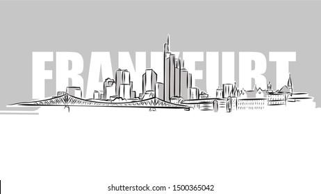 Frankfurt Main Skyline Panorama Sketch. Hand Drawn Vector Illustration.