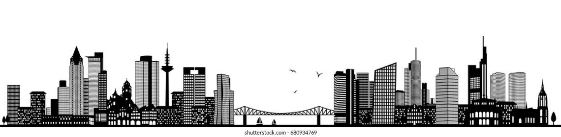 Frankfurt skyline black