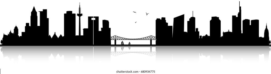 Frankfurt skyline black silhouette