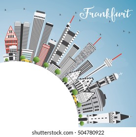 Frankfurt Skyline with Gray Buildings, Blue Sky and Copy Space. Vector Illustration. Business Travel and Tourism Concept with Modern Architecture. Image for Presentation Banner Placard and Web Site.