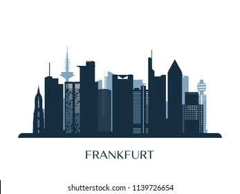 Frankfurt skyline, monochrome silhouette. Vector illustration.