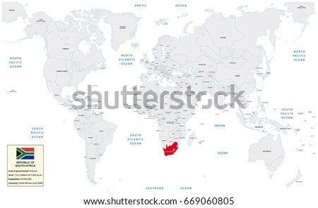 Frankfurtgermanyjune 30 2017 World Map Republic Stock Vector