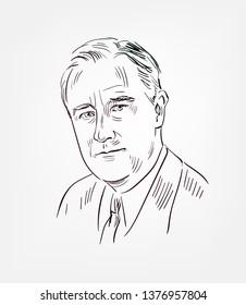 Franklin Delano Roosevelt  usa president vector sketch portrait