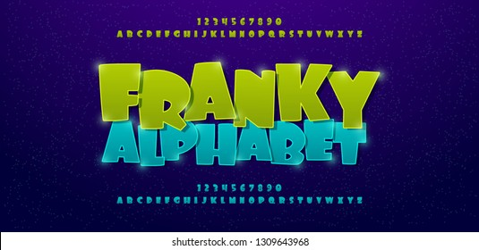 Franky comics alphabet font. Typography comic logo or movie fonts designs concept. vector illustration
