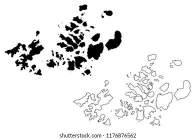Franz Josef Land (archipelago of Russia, Franz Joseph Land or Francis Joseph's Land) map vector illustration, scribble sketch Prince George , Wilczek , Graham Bell Island and Alexandra Land map