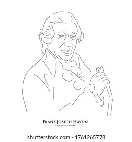 Franz Joseph Haydn (31 March 1732 – 31 May 1809) A master of historical music. Line drawing portrait illustration.
