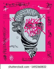 Franz Joseph Haydn. Crazy pink calligraphy. Vector hand drawn illustration.