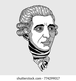 Franz Joseph Haydn. Vector illustration hand drawn.
