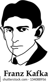 Franz Kafka - black and white (vector)