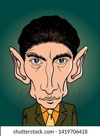 Franz Kafka cartoon portrait in line art illustration. He was a German-speaking Bohemian Jewish novelist and short story writer. Vector