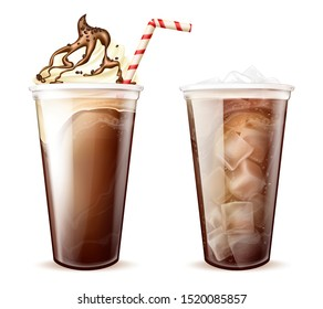 Frappe coffee, cola with ice cubes in disposable plastic cups set. Frappucino with whipped cream, chocolate or caramel topping and soda beverage. Cold drinks isolated Realistic 3d vector illustration