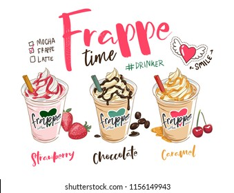 frappe coffees illustration with slogan