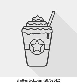 frappucino flat icon with long shadow, line icon