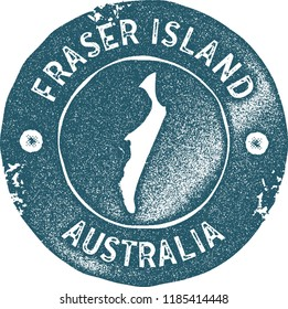 Fraser Island map vintage stamp. Retro style handmade label, badge or element for travel souvenirs. Blue rubber stamp with island map silhouette. Vector illustration.